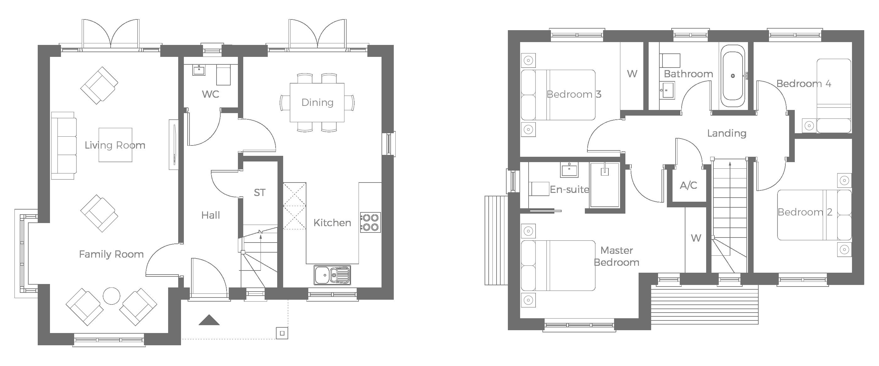 The Kensington 4 bedroom detached home with adjacent garage